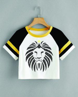 Camiseta Cropped – Estampa Leão