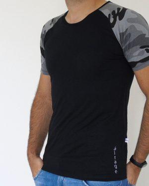 Camiseta Raglan Masculina Preta e Cinza Militar